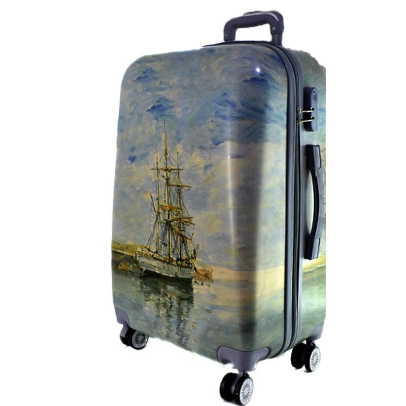 XXL размер луксозен пътнически PVC куфар - спинър 13009-2 BLUE SEA- ПОЛИКАРБОН