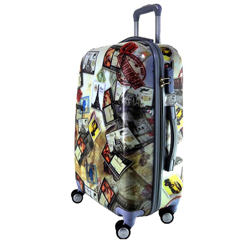 XXL размер луксозен пътнически PVC куфар - спинър 13009-2 EUROPE POST STAMPS - ПОЛИКАРБОН