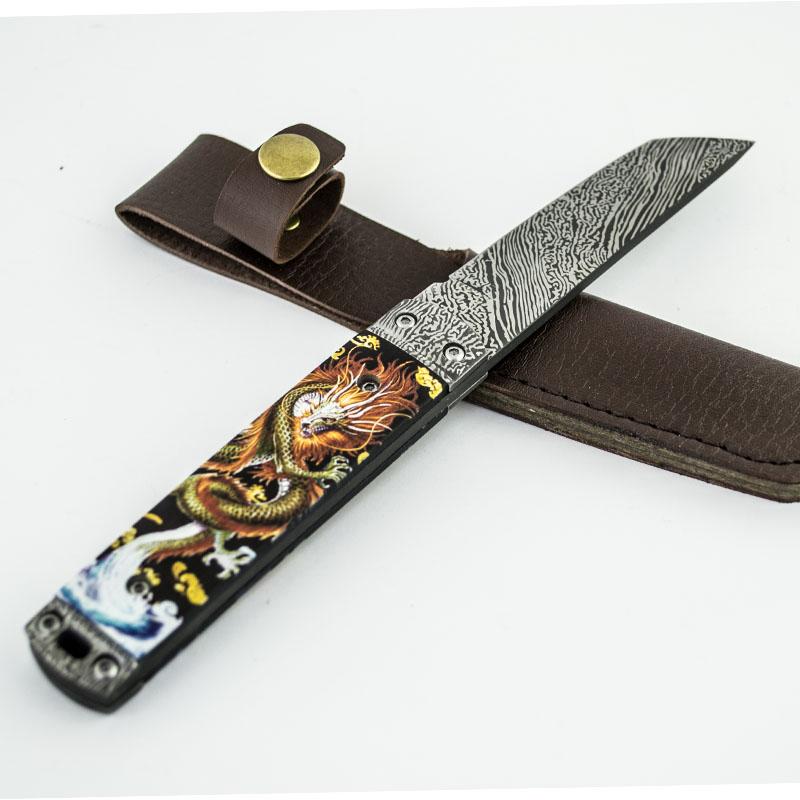 Японски класически танто нож GOLDEN JAP DRAGON L021 с кания ест. кожа