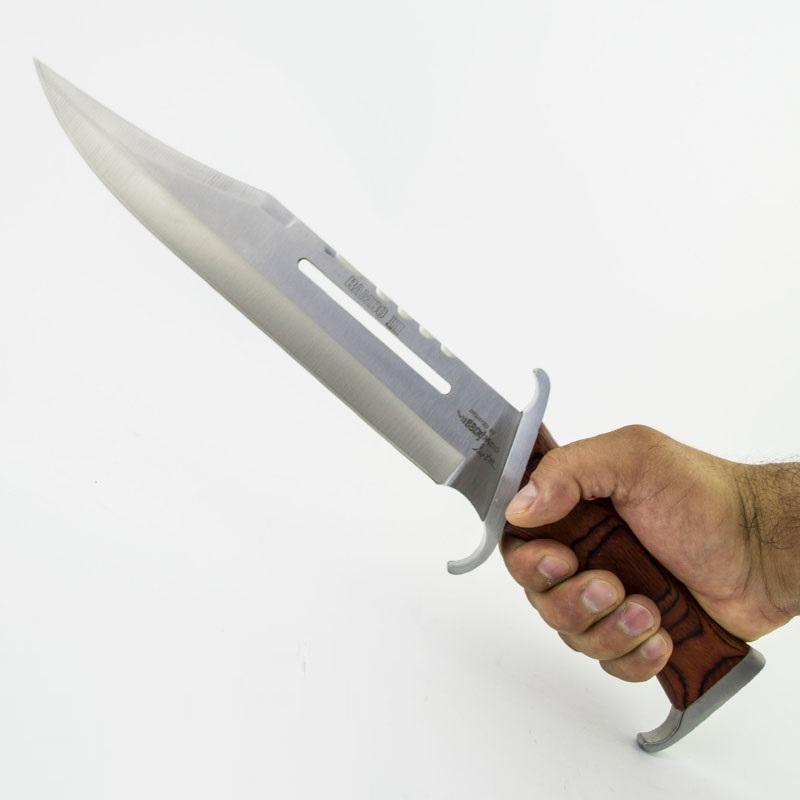 Огромен тактически лазерно заточен нож RAMBO First Blood III А03, кожена кания - гьон