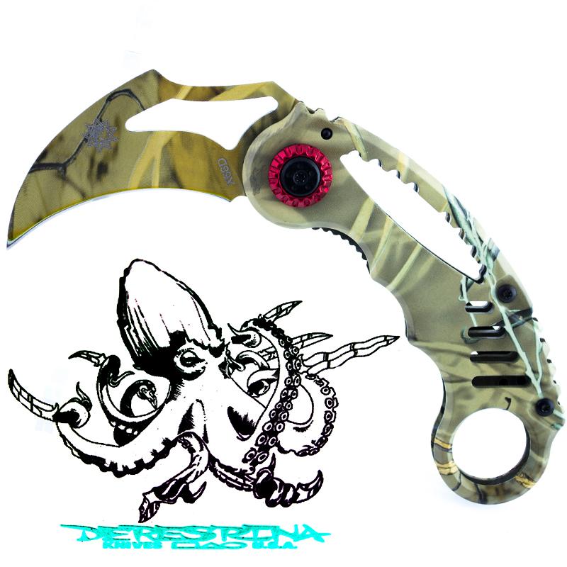 Стоманен сгъваем нож DERESRINA X68D DESERT - KARAMBIT