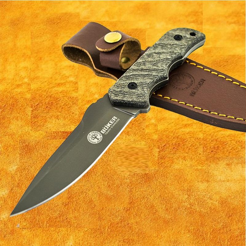 Висок клас ловен нож BOKER TSMOV Baumwerk SOLINGEN 888, кожена кания- ест. гьон