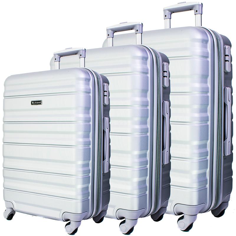 Комплект 3 броя ABS куфари BUSINESS MTRAVEL 1601 SILVER, скрит механизъм и РАЗШИРЕНИЕ