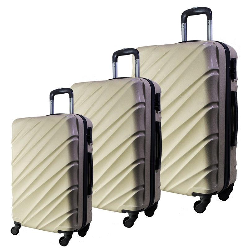 Комплект 3 броя ABS куфари ART GALERY VAN GOGH 8073,  скрит механизъм, CHAMPAIGNE
