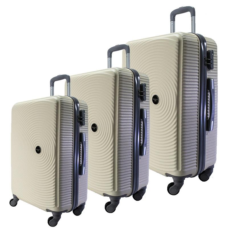 Комплект 3 броя ABS куфари ART GALERY PICASSO 8080,  скрит механизъм, SHAMPAIGNE