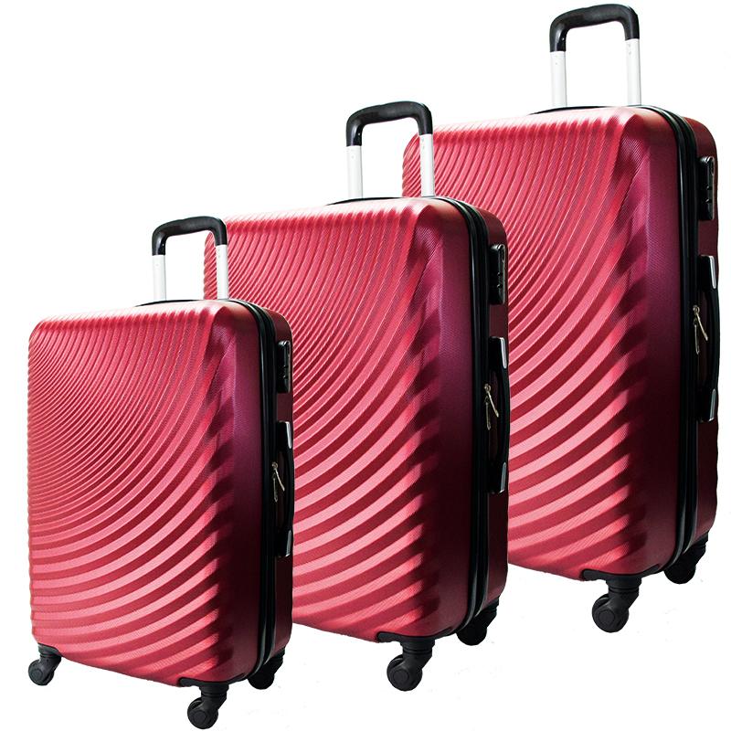 Комплект 3 броя ABS куфари ART GALERY GOYA 8077, скрит механизъм, BORDEAUX, С РАЗШИРЕНИЕ