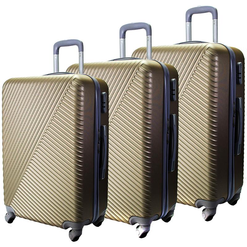 Комплект 3 броя ABS куфари ART GALERY SALVADOR DALI 8078, скрит механизъм, CHAMPAGNE