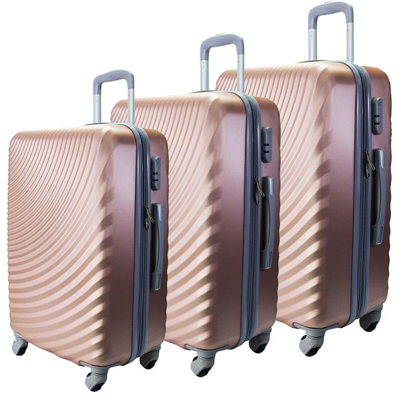 Комплект 3 броя ABS куфари ART GALERY GOYA 8077, скрит механизъм, GOLDEN ROSE, РАЗШИРЕНИЕ