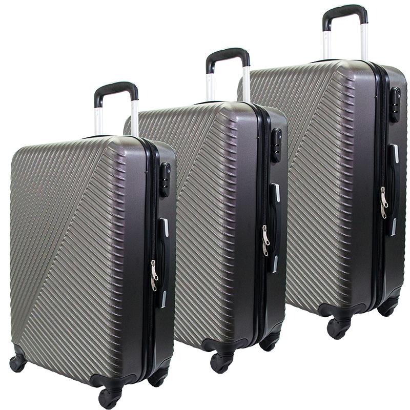 Комплект 3 броя ABS куфари ART GALERY SALVADOR DALI 8078, скрит механизъм, GRAFIT