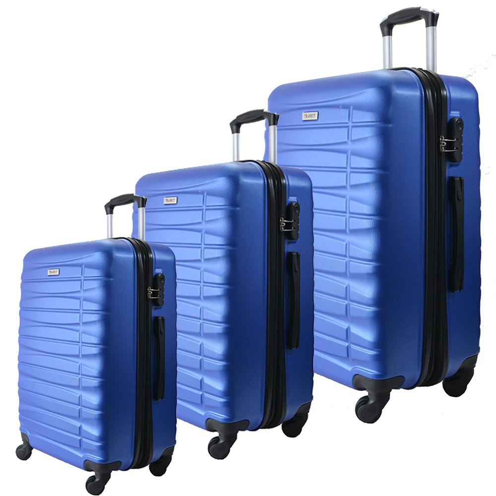 Комплект 3 броя ABS авио куфари-спинъри TRANSIT 837 SKY BLUE,  скрит механизъм, РАЗШИРЕНИЕ