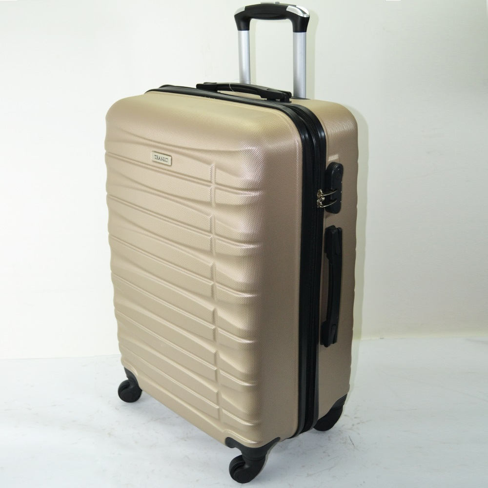 Комплект 3 броя ABS авио куфари-спинъри TRANSIT 837 GOLD,  скрит механизъм, РАЗШИРЕНИЕ