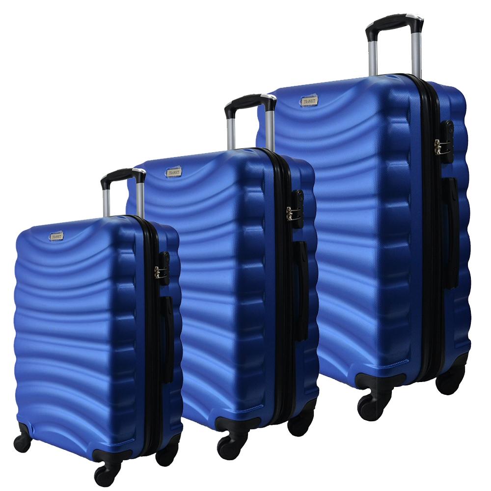 Комплект 3 броя ABS авио куфари-спинъри TRANSIT 822 SKY BLUE,  скрит механизъм, РАЗШИРЕНИЕ