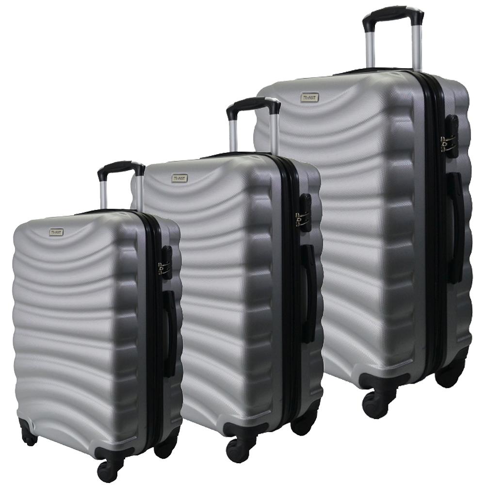 Комплект 3 броя ABS авио куфари-спинъри TRANSIT 822 SILVER, скрит механизъм, РАЗШИРЕНИЕ