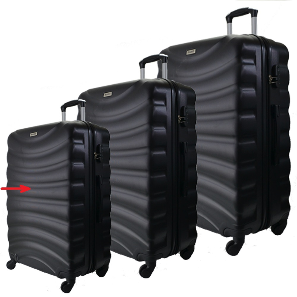 Разпродажба: малък куфар спинър за ръчен багаж  TRANSIT 822 BLACK,  скрит механизъм, РАЗШ.