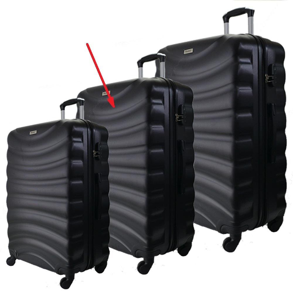 Разпродажба: среден куфар спинър за ръчен багаж  TRANSIT 822 BLACK,  скрит механизъм,РАЗШ.