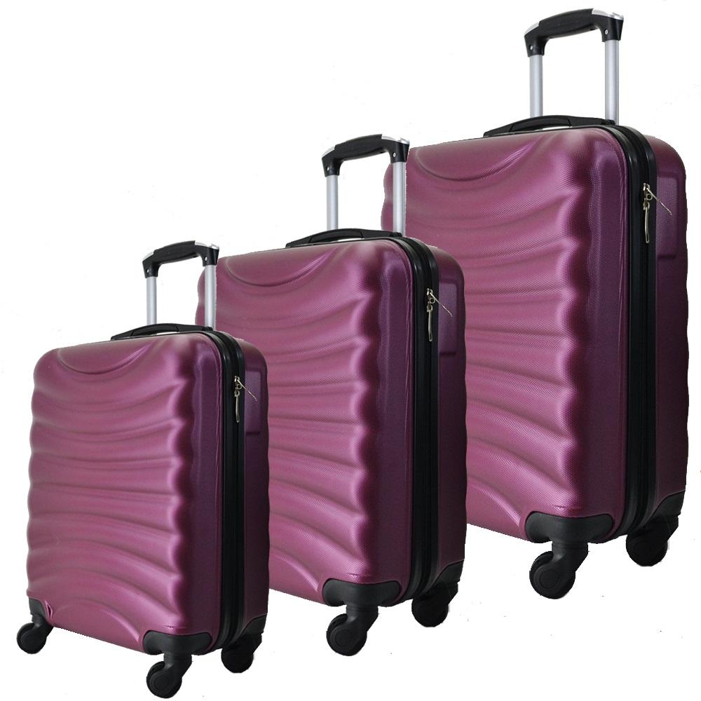 Комплект 3 броя ABS авио куфари-спинъри TRANSIT 822 BORDEAUX, скрит механизъм, РАЗШИРЕНИЕ