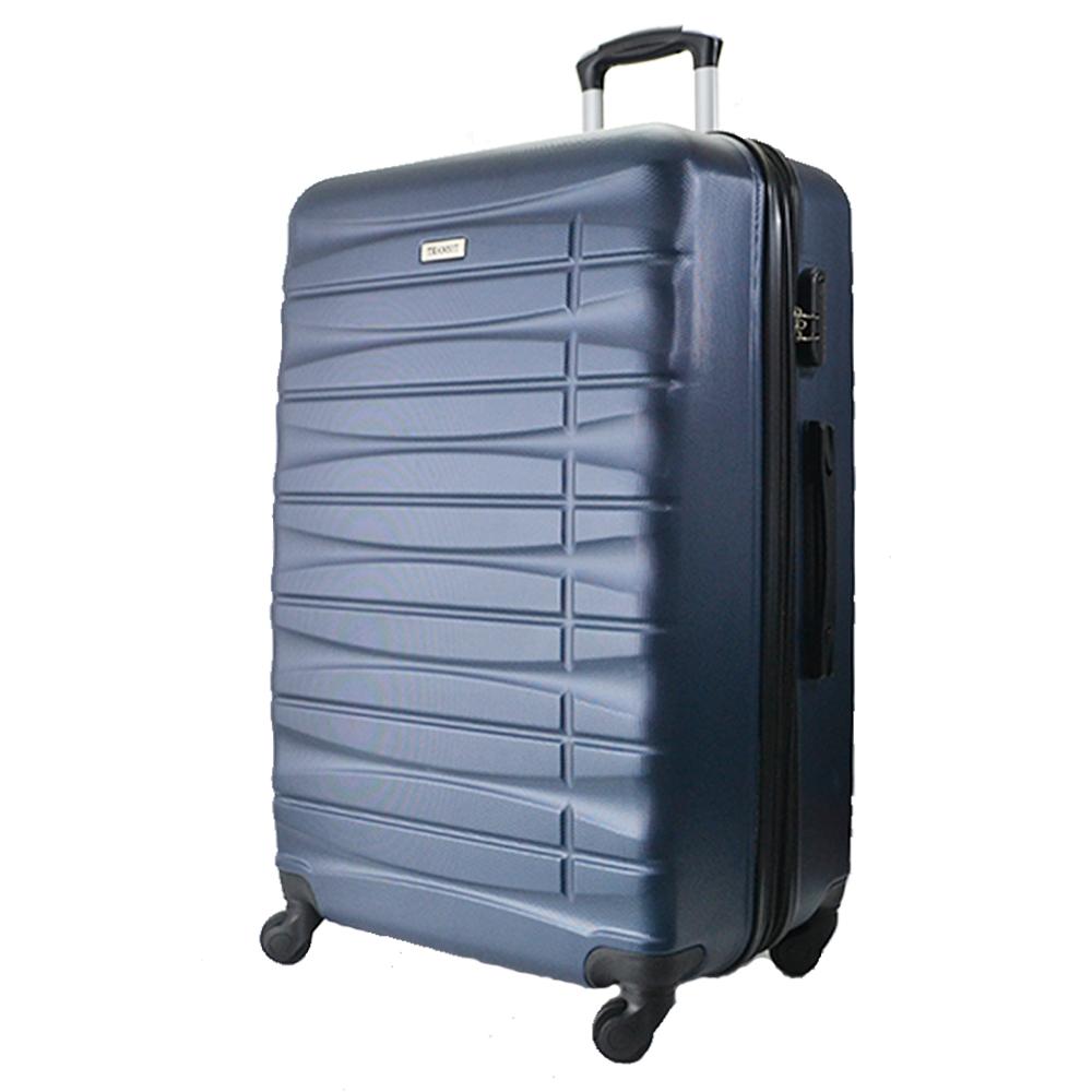 Комплект 3 броя ABS авио куфари-спинъри TRANSIT 837 DARK BLUE, скрит механизъм, РАЗШИРЕНИЕ