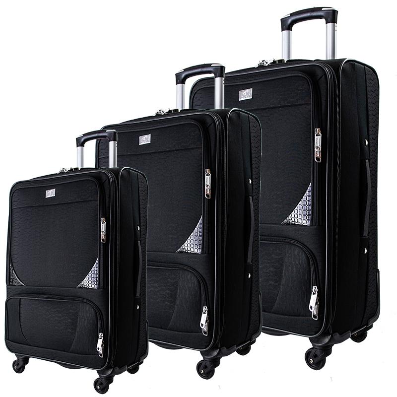 Висок клас разширяващи се текстилни спинър куфари BLACK 1502 - 3 броя