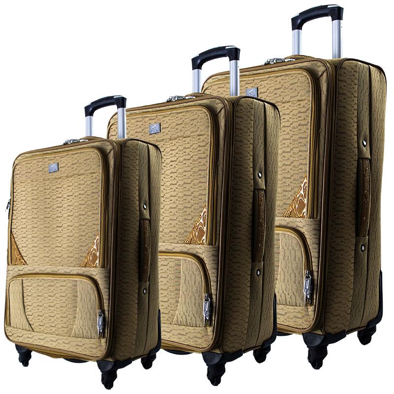 Висок клас разширяващи се текстилни спинър куфари GOLD 1502 - 3 броя
