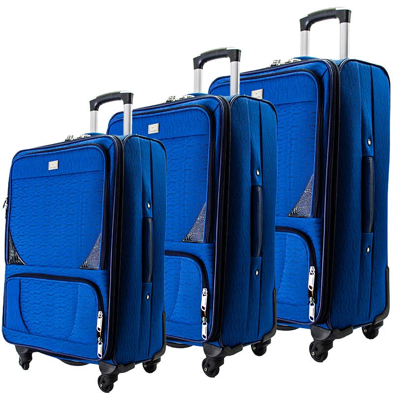 Висок клас разширяващи се текстилни спинър куфари BLUE 1502 - 3 броя