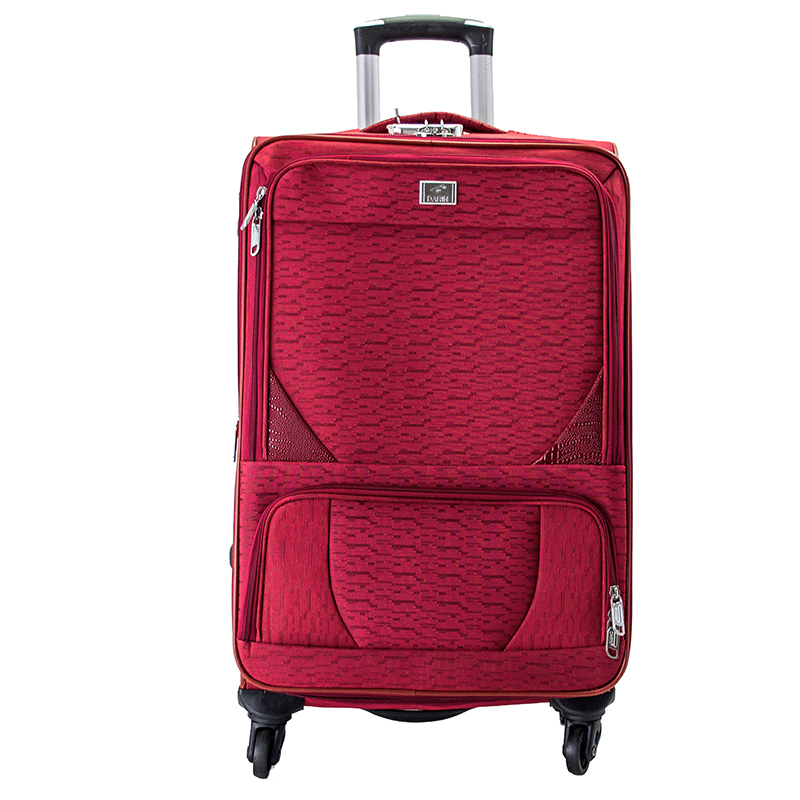 Висок клас разширяващи се текстилни спинър куфари RED 1502 - 3 броя
