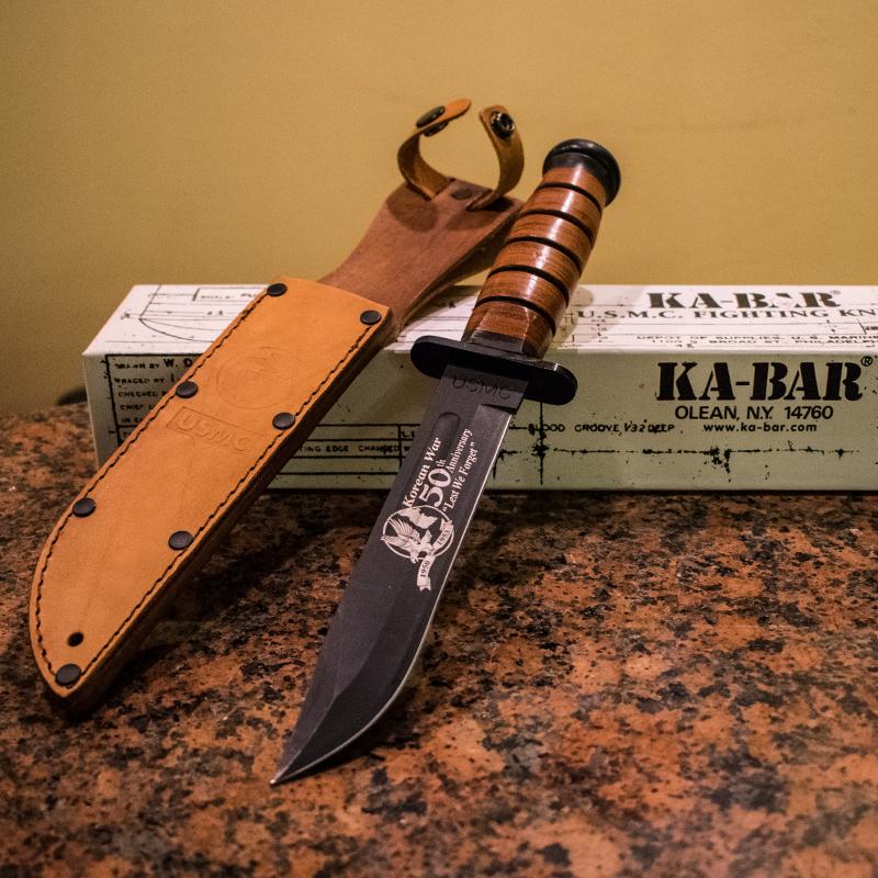 Голям юбилеен корейски военоморски нож от Корейската война  KA-BAR U.S.M.C. FIGHTING KNIFE