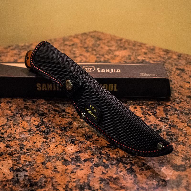 Висок клас компактен ловен нож SANJA K-91 BROWN CLASSIC, стомана 440C