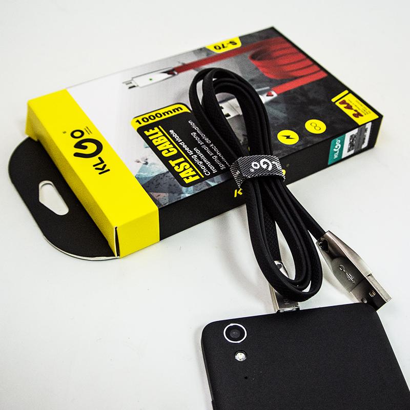 Мощен, сигурен силиконов ANDROID дейта кабел microUSB KLGO S51, 2.4А ВИСОК КЛАС