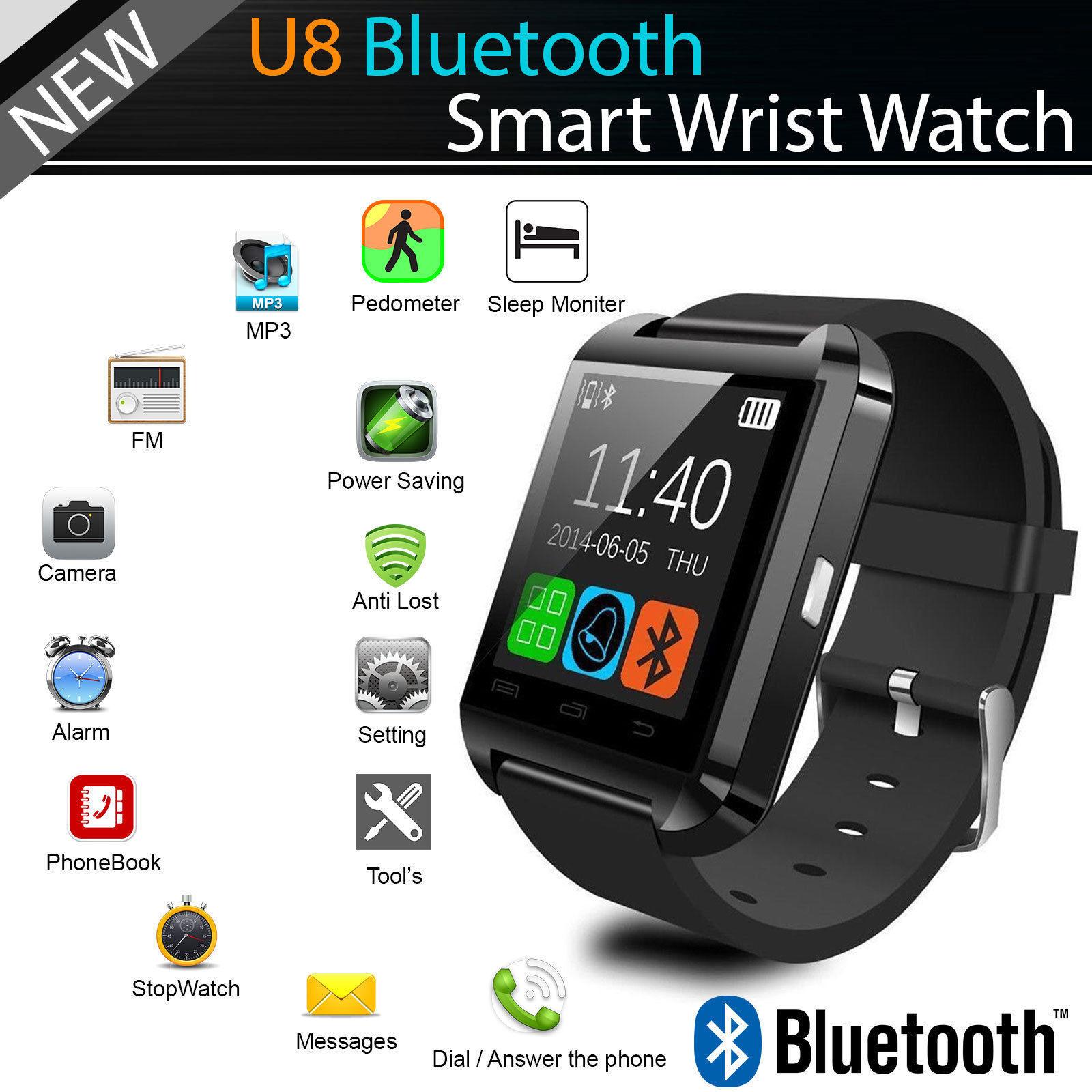 Черен блутут смарт часовник U8 - мини фитнес смартфон на ръката ти