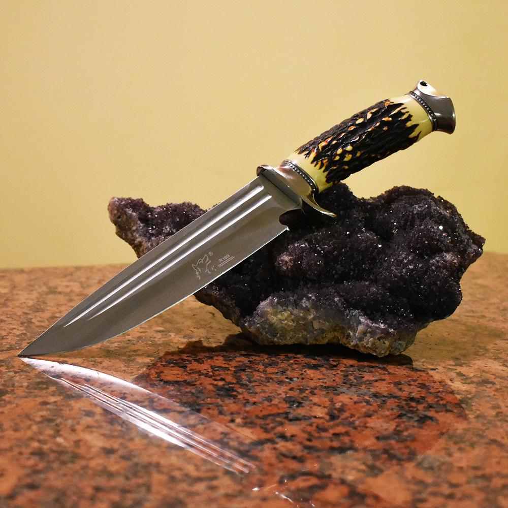 Голям бутиков ловен нож WOLF R15G с кокалена дръжка и твърда синтетична ABS кания