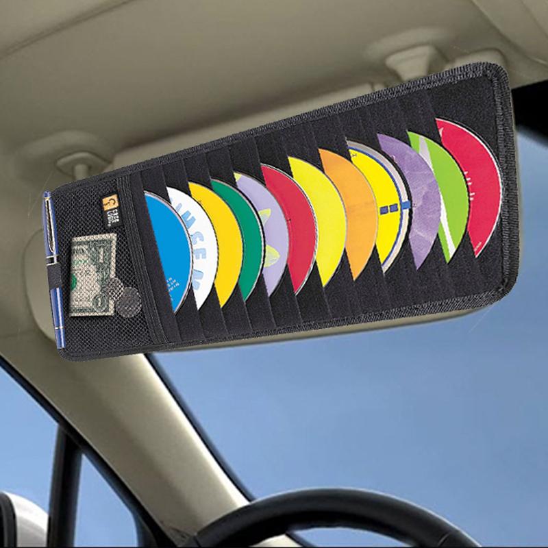 Разпродажба 12 CD Visor holder: органайзер за 12 компактдиска за авто сенник