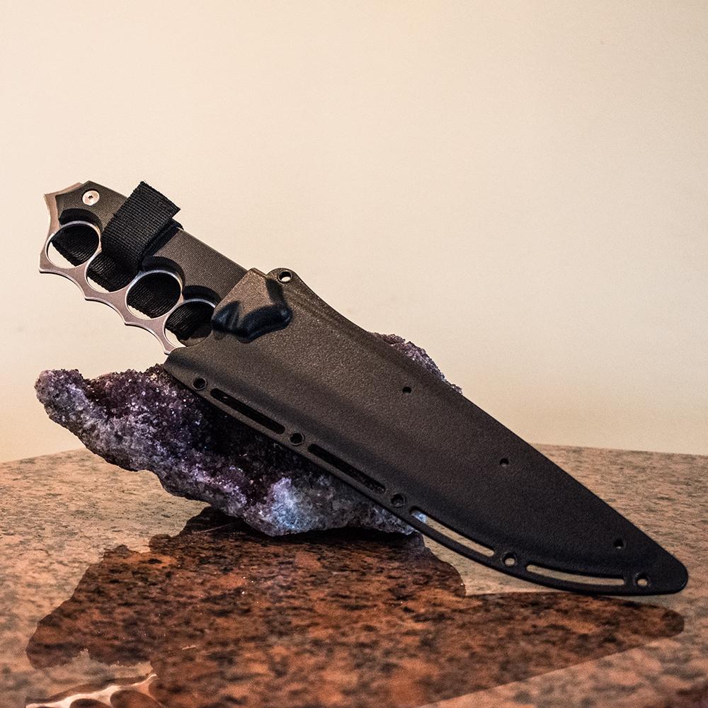 Голям ловно-тактически нож HRZ X10 със затворен предпазител за пръсти, канал и кания винил