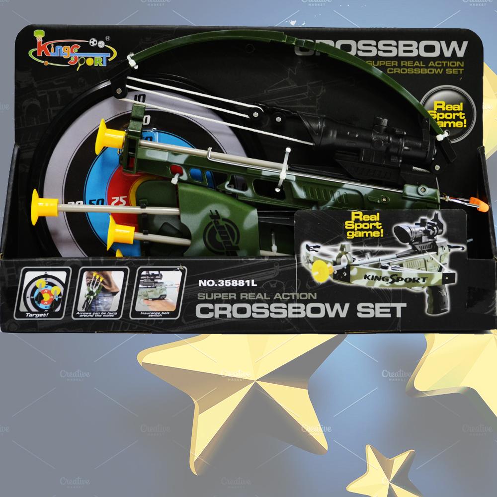 Мощен военен арбалет-играчка с безопасни вакуумни стрели, 6+