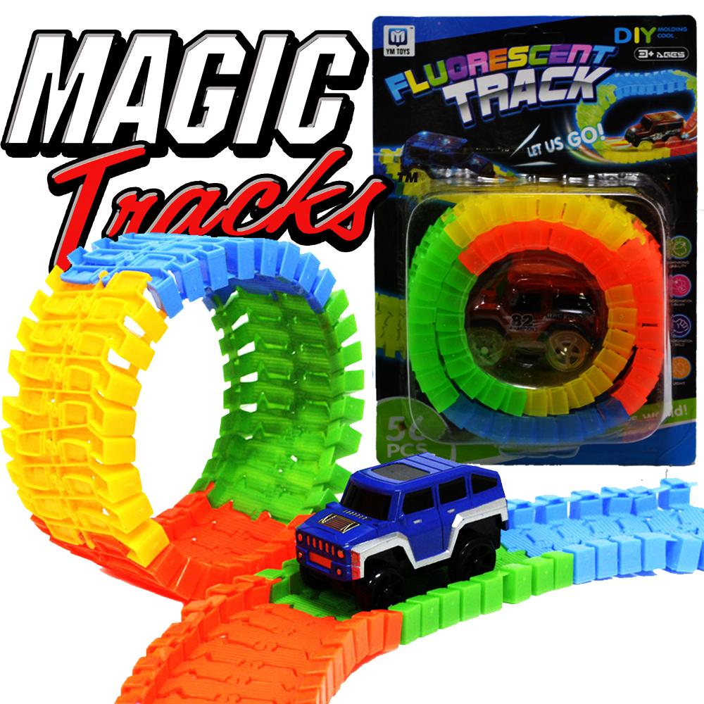 ТОП ПОДАРЪК: MAGICАЛ TRACKS  MINI - състезателна количка и  писта 56 части, 85 см