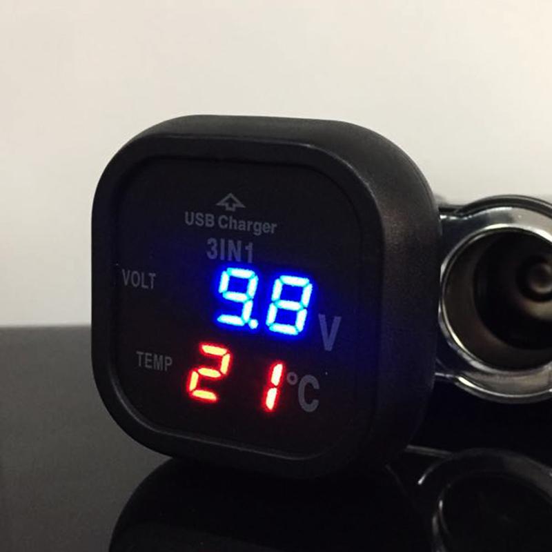 Немски мини компютър 3в1 волтметър, термометър, USB 2.1A за 12-24V CY386T, дждж