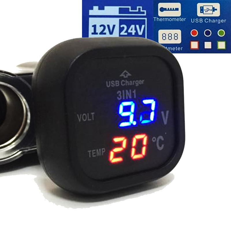 Немски мини компютър 3в1 волтметър, термометър, USB 2.1A за 12-24V CY386T