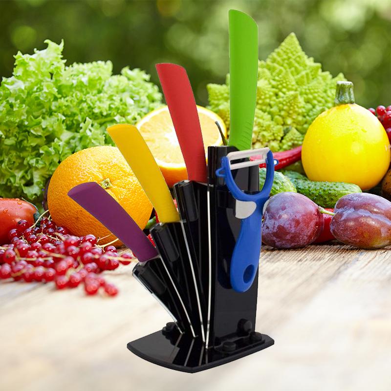Луксозен комплект 4 циркониево-керамични ножа CERARTEC с поставка и белачка за зеленчуци