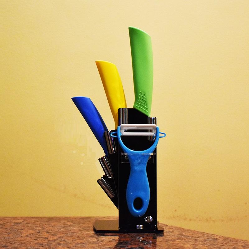 Луксозен комплект 3 циркониево-керамични ножа CERARTEC с поставка и белачка за зеленчуци