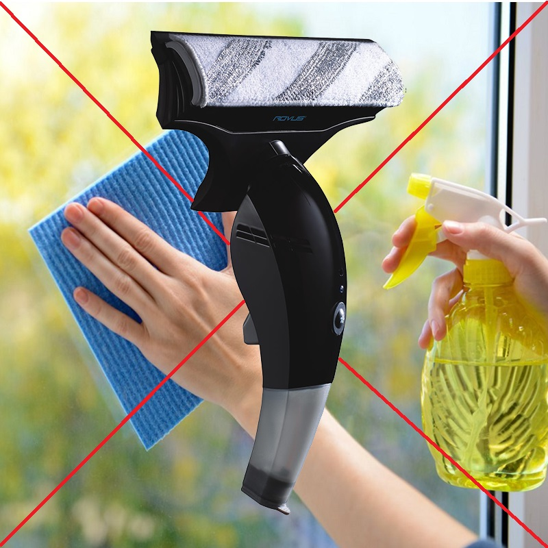РАЗПРОДАЖБА: безжична вакуумна чистачка за прозорци, витрини и фаянс ROVUS BLUE POWER