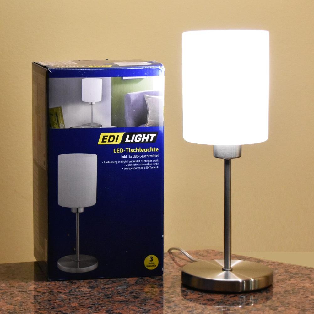 Австрийска нощна LED лампа EDI LIGHT BUSINESS, най-висок клас,  метал-инокс-стъкло-LED