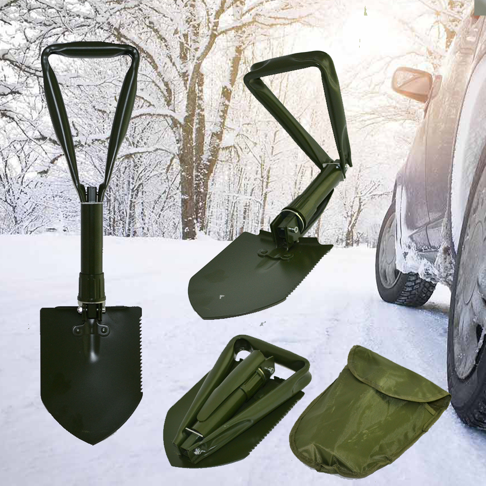 Супер Удобна, Метална, Сгъваема Лопата GREEN За Багажника На Колата