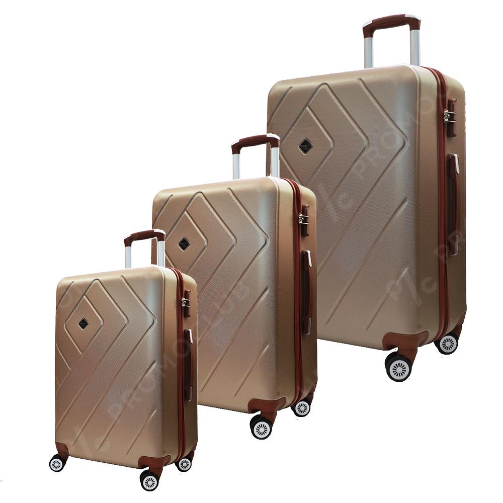 Комплект 3 авио спинъри RUMBA GOLD 8042, ABS, леки и твърди с безшумни колела, куфар