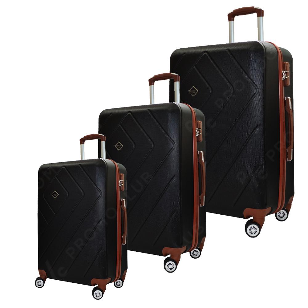Комплект 3 авио спинъри RUMBA GRAPHITE 8042, ABS, леки и твърди с безшумни колела, куфар
