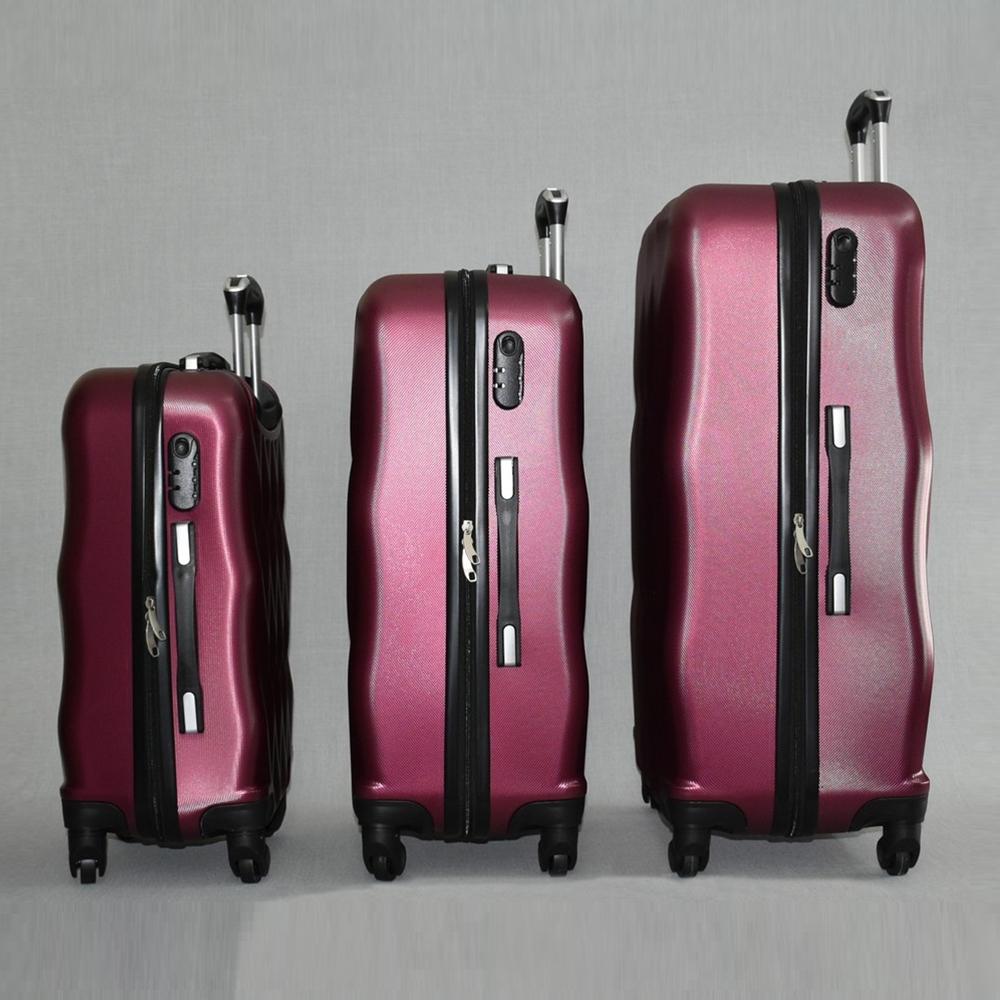 РАЗПРОДАЖБА: комплект  3 Твърди, Леки И Компактни Спинър-Куфари 1255 Фукси PURPLE, ABS