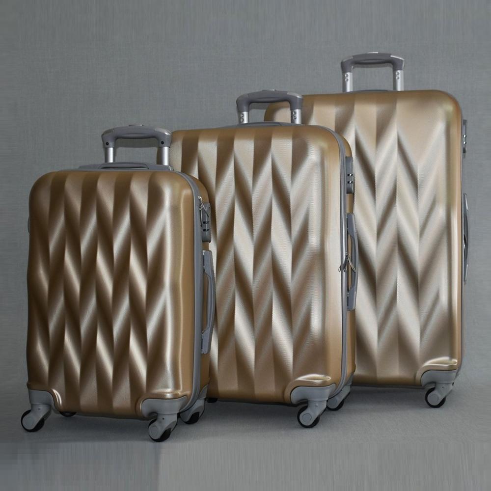 РАЗПРОДАЖБА: комплект  3 Твърди, Леки И Компактни Спинър-Куфари 1255 Фукси GOLD, ABS