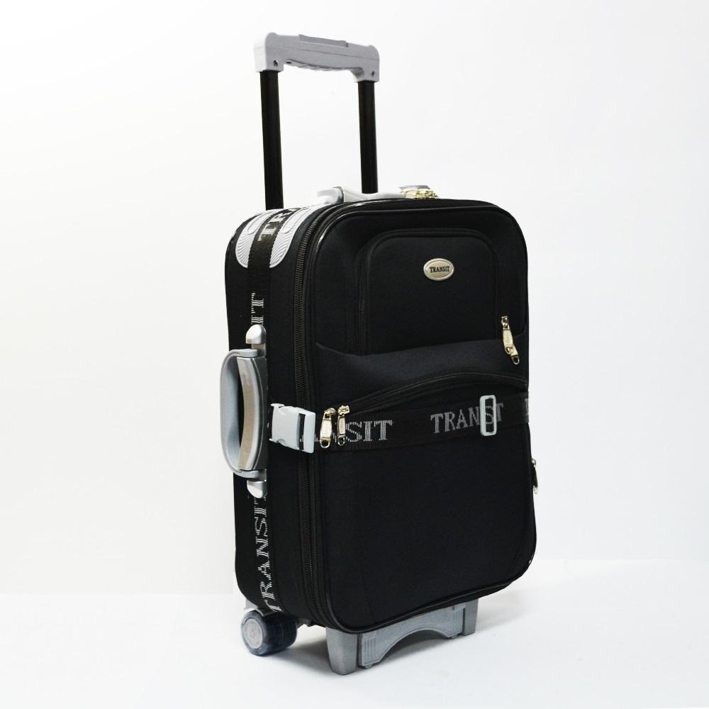 b9c426eb38c Разширяващ се куфар за ръчен багаж ТРАНЗИТ M701 BLACK, 3 колела, стоманено  шаси,