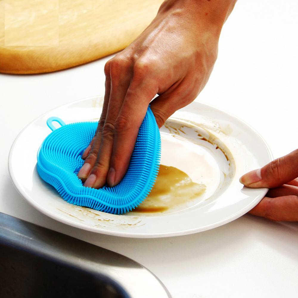 Универсална силиконова антибактериална гъба за кухня и баня, не задържа мръсотия