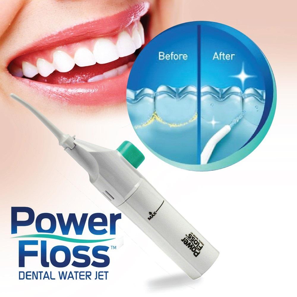 Исккрящо бели зъби със зъбен душ от POWER FLOSS,  устен иригатор с високо налягане