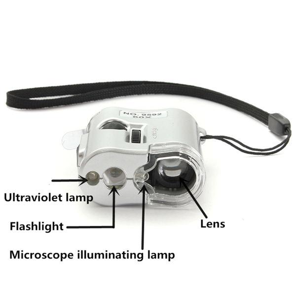 Невероятен джобен електронен микроскоп с увеличение 60X, LED и UV осветление 9595, дждж