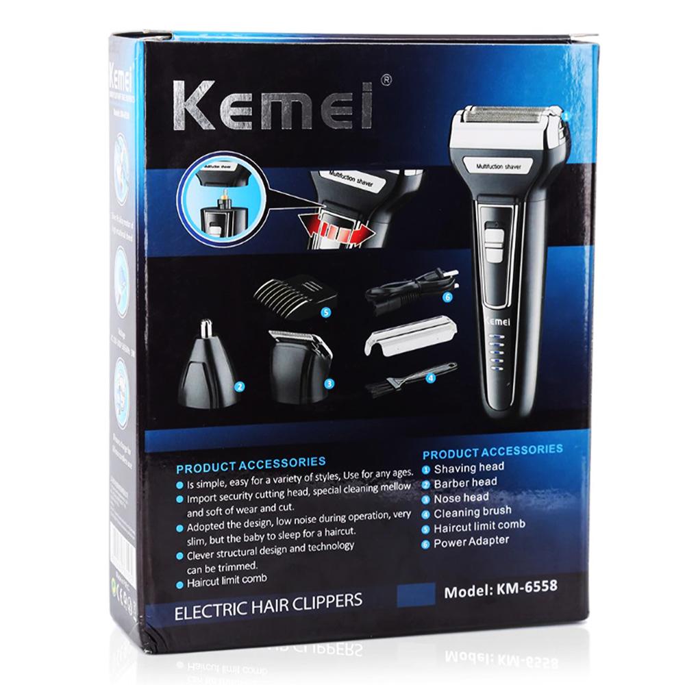 Електрическа самобръсначка KEMEI 6558 3в1- самобръсначка, тример за подстригване, нос, уши